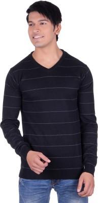 Deutz Striped V-neck Casual Men's Black Sweater