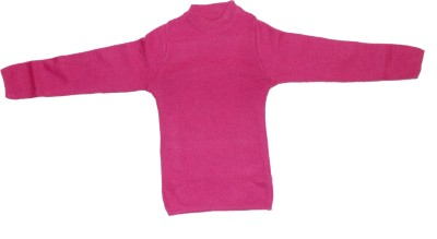 The Modern Knitting Shop Self Design Round Neck Casual Girl's Pink Sweater