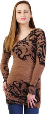 Priknit Paisley Round Neck Women's Brown Sweater
