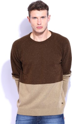 Roadster Solid Round Neck Casual Men's Brown Sweater