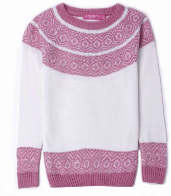 London Fog Striped Round Neck Casual Girl's White, Pink Sweater