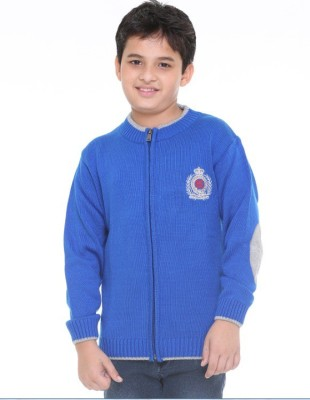Superkids Solid Round Neck Casual Boy's Blue Sweater