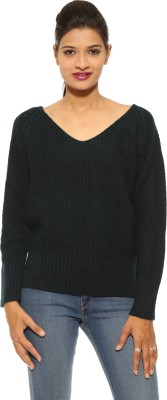Pepe Solid V-neck Casual Women's Blue Sweater