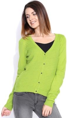 Mast & Harbour Self Design V-neck Casual Women's Green Sweater