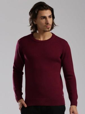 HRX by Hrithik Roshan Self Design Round Neck Casual Men Maroon Sweater