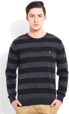 Blackberrys Striped Round Neck Men's Grey Sweater