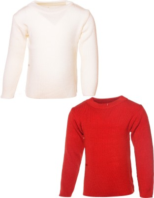 Babeezworld Solid Round Neck Girls White, Red Sweater