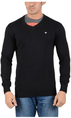 Reveller Solid V-neck Casual Men's Black Sweater