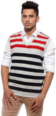 Sports 52 Wear Striped V-neck Casual Men's Reversible Red Sweater