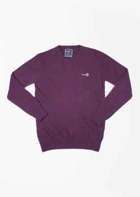 Pepe Jeans Solid V-neck Casual Men,s Purple Sweater