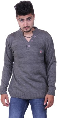 Austrich Solid V-neck Casual Men's Grey Sweater