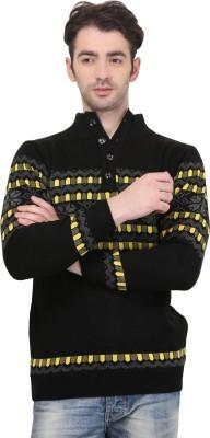 BRAVEZI Graphic Print Turtle Neck Casual Men,s Black, Yellow Sweater