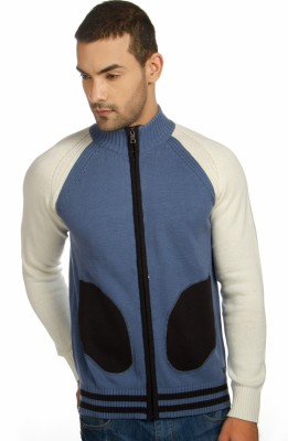 Provogue Solid Round Neck Casual Men's Light Blue Sweater