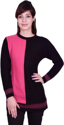 Cee-For Striped Round Neck Casual Women's Pink, Black Sweater