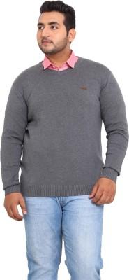 John Pride Solid V-neck Casual Men's Grey Sweater