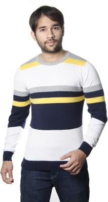 AMX Striped Round Neck Casual Men's Dark Blue, White, Yellow, Grey Sweater