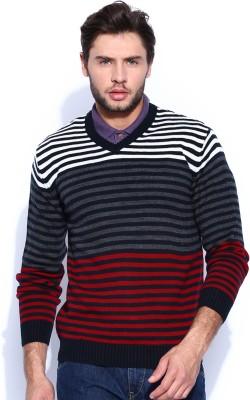 HRX by Hrithik Roshan Self Design V-neck Casual Men's Black, Red Sweater