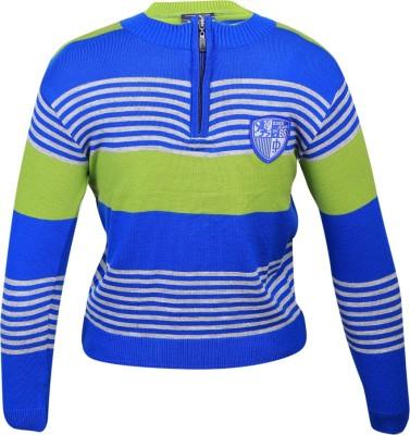 Duke Striped Round Neck Casual Women's Blue Sweater
