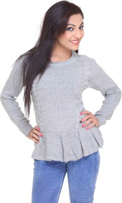 CLUB YORK Solid Round Neck Casual Women,s Grey Sweater