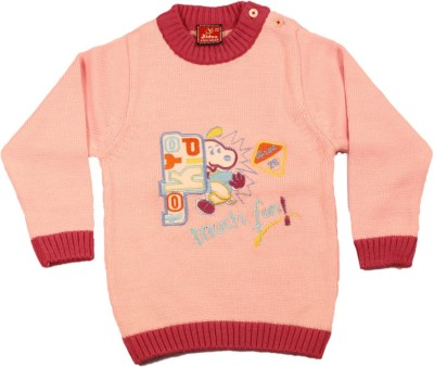 Kidax Solid, Embroidered Round Neck Casual, Festive, Party Baby Boy's Pink Sweater