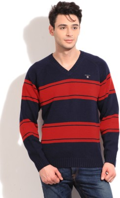 Gant Striped V-neck Casual Men's Blue, Red Sweater