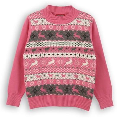 Lilliput Self Design Round Neck Casual Girls Pink Sweater