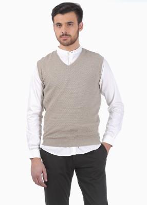 Basics Solid V-neck Casual Men's Beige Sweater