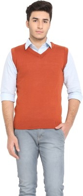 Northern Lights Solid Round Neck Casual Men's Maroon Sweater