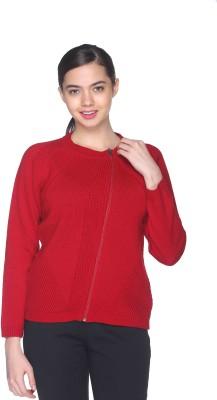 CLUB YORK Self Design Round Neck Casual Women's Red Sweater