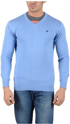 Reveller Solid V-neck Casual Men's Light Blue Sweater