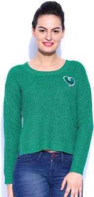 Kook N Keech Disney Self Design Round Neck Casual Women's Green Sweater