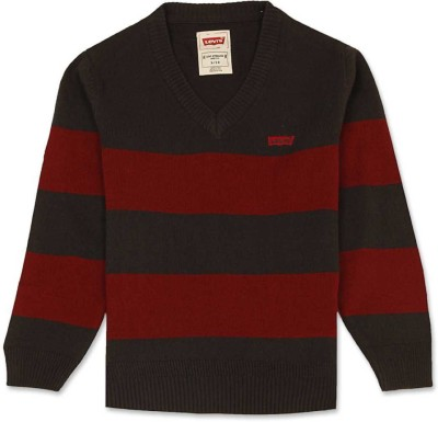 Levi's Striped V-neck Casual Girl's Brown, Red Sweater
