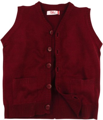 Oye Solid V-neck Casual Boy's Red Sweater