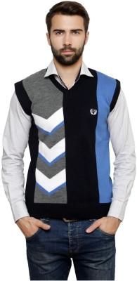 Leebonee Geometric Print V-neck Casual Men's Blue Sweater