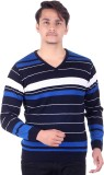 Numalo Striped V-neck Casual Men Dark Bl...