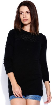 Wrangler Solid Round Neck Casual Women's Black Sweater