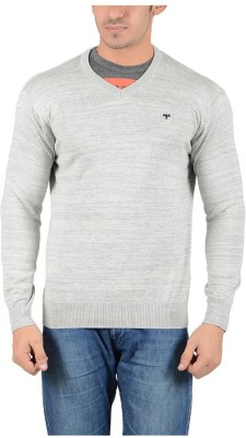 Reveller Solid V-neck Men's Grey Sweater