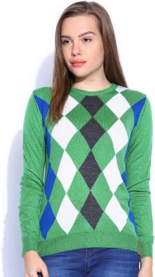 Harvard Self Design Round Neck Women,s Green Sweater