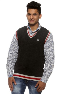 Sports 52 Wear Striped V-neck Casual Men's Reversible Black, Grey Sweater