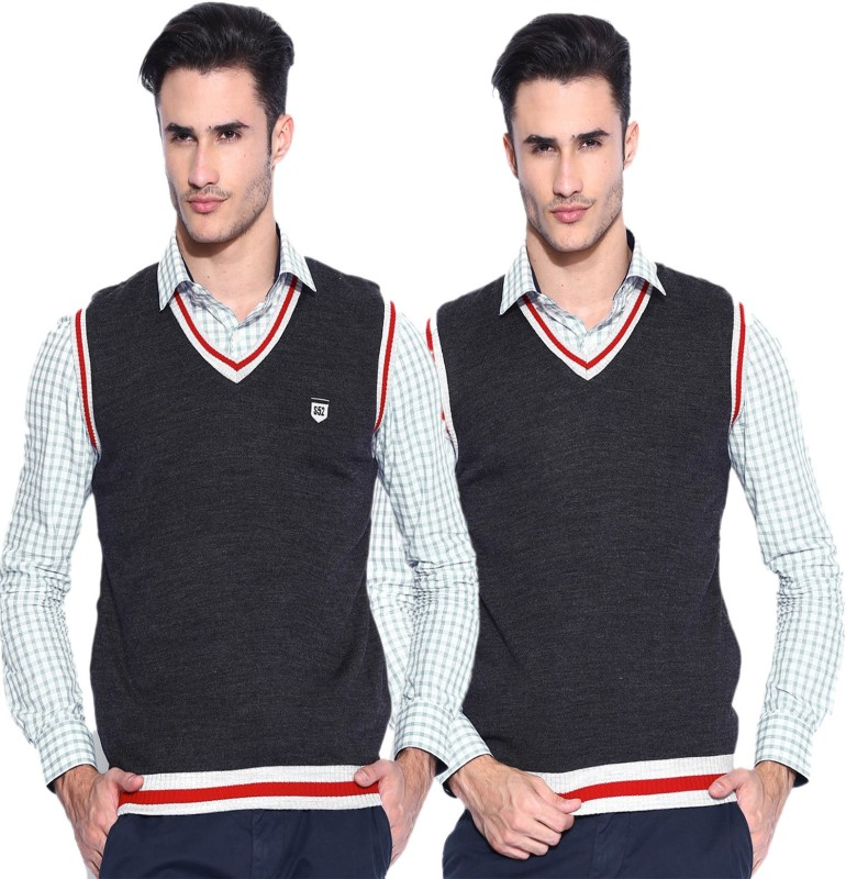 Sports 52 Wear Solid V-neck Casual Men Grey Sweater