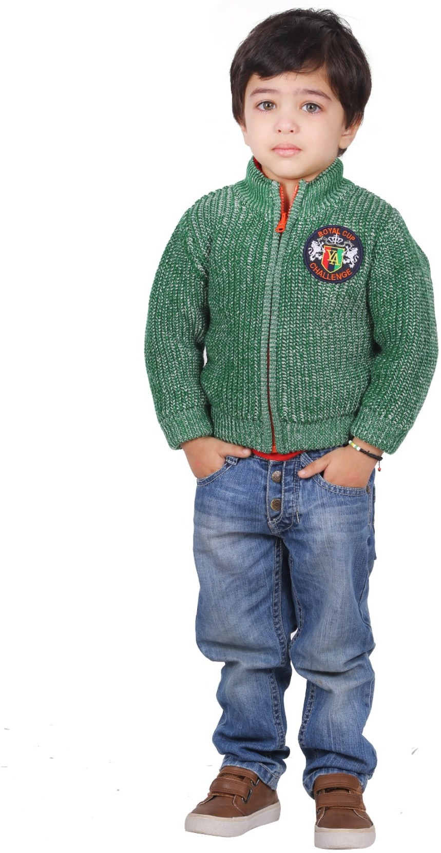 Yellow Apple Solid Round Neck Casual Boys Green Sweater