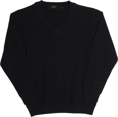 Gini & Jony Solid V-neck Casual Boys Black sweater
