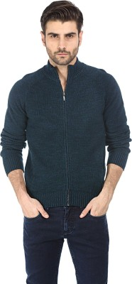 Basics Solid Turtle Neck Casual Men's Green Sweater