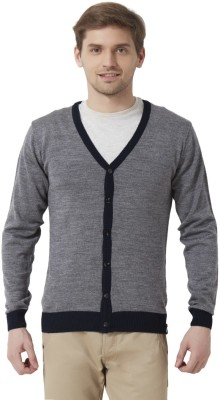 Peter England Solid V-neck Casual Men's Grey Sweater