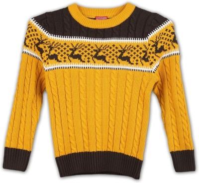 Lilliput Self Design Round Neck Casual Boy's Yellow Sweater