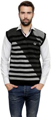 Leebonee Striped V-neck Casual Men's Black Sweater