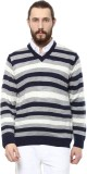 COBB Striped V-neck Casual Men Grey Swea...