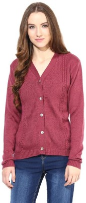 The Vanca Solid V-neck Casual Women's Pink Sweater