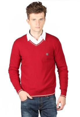 Again Solid V-neck Casual Men's Red Sweater