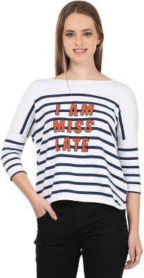 United Colors of Benetton Striped Round Neck Casual Women's White, Blue Sweater